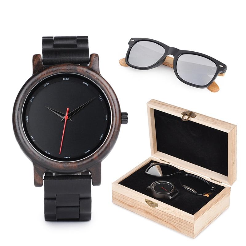 BOBO BIRD Watches Men Wooden Sunglasses Women Ladies in Suit Present Box Gift Box Quartz Wristwatch