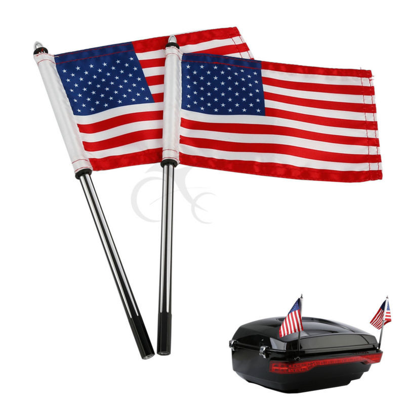 King Tour Pak Flagpoles W American Flags For Harley 14 17 CVO Street Glide FLHX Road