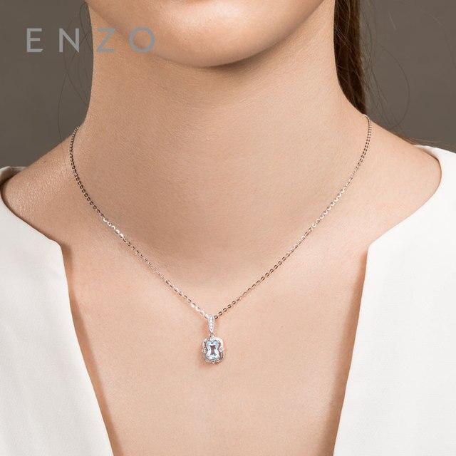 Precious Collections Blue Topaz/Diamond Pendant 18K White Gold Natural Gemstone Fancy Design For Woman's pendants Necklace 3
