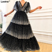 Lowime Tiered Black Silver Party Dresses Dresses Vestidos