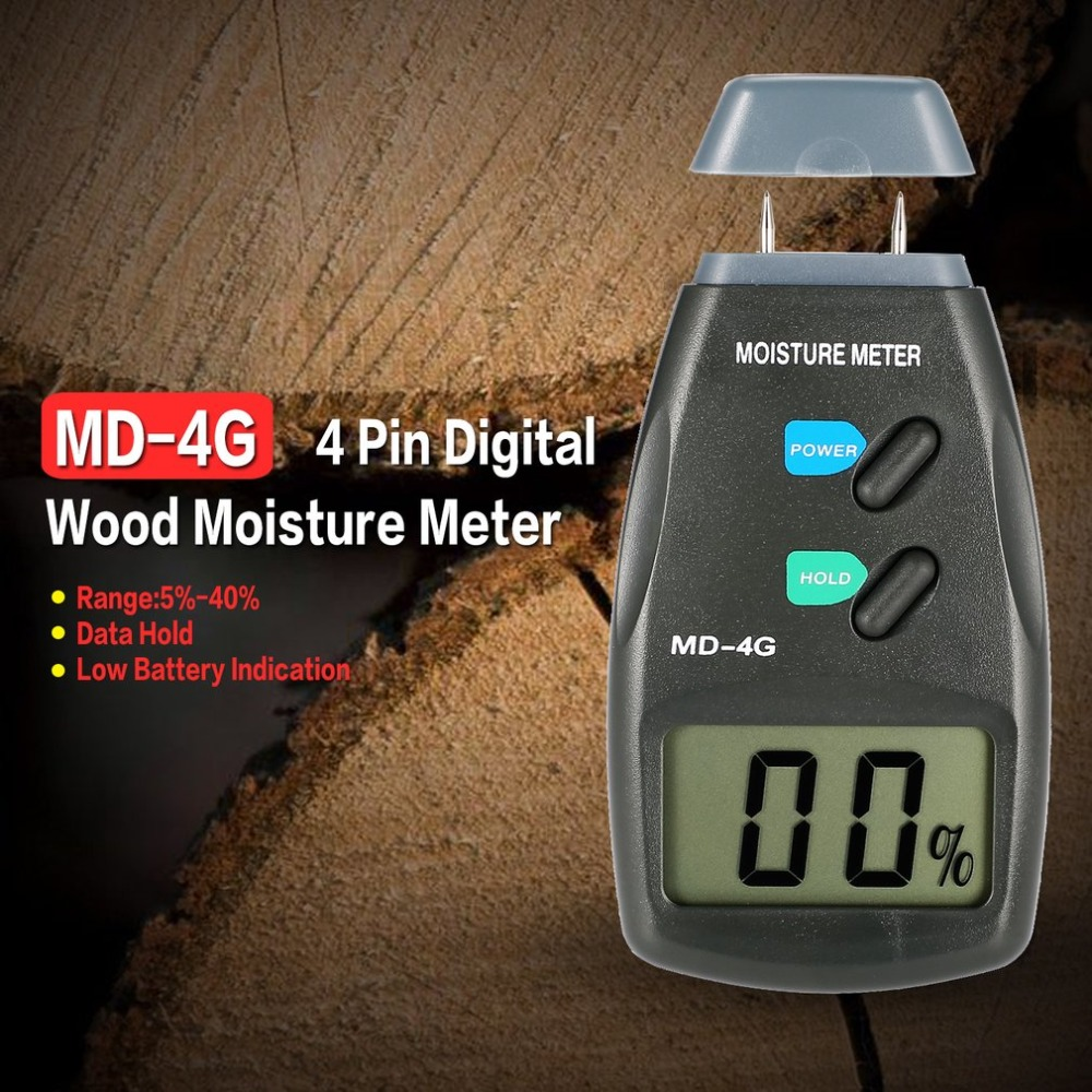 MD-4G 4 Pins Digital LCD Wood Moisture Humidity Meter Analyzer Hygrometer Timber Damp Detector Tester Range 5% - 40% brand handheld digital wood moisture meter data hold measure in 4 tree species humidity tester damp detector hygrometer