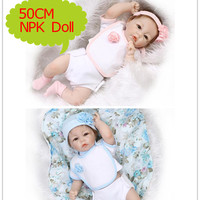NPK 50cm About 20 inch Silicone Reborn Dolls With Summer Season Doll Clothes Hot Baby Doll Playmate Bonecas Bebe Reborn Toy