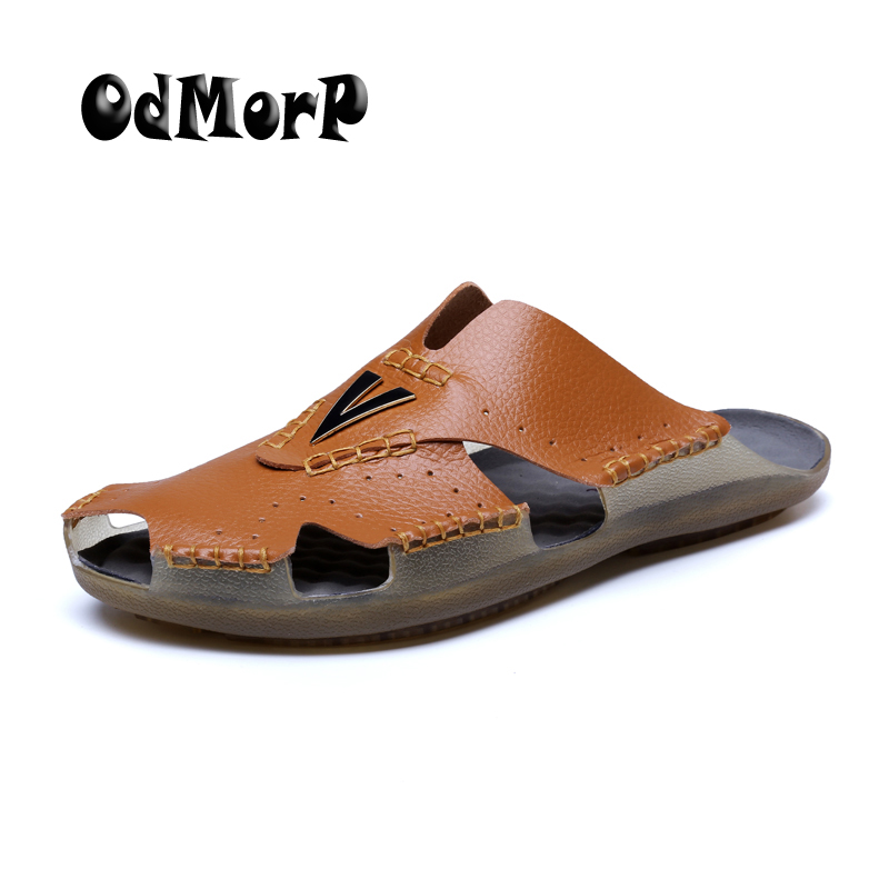 ODMORP New Men Sandals Summer Shoes Men Slippers Big Size 48 Comfortable Leisure Beach Sandal Handmade Casual Men Shoes