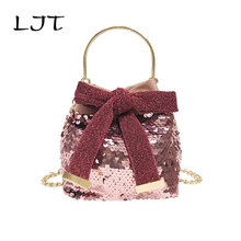 LJT 2019 Summer Woman Sequins Bucket Bag Metal Handle Chain Crossbody Messenger Bag Women Casual Bow Tie Tote Bag Dropshipping metal handle winged tote bag
