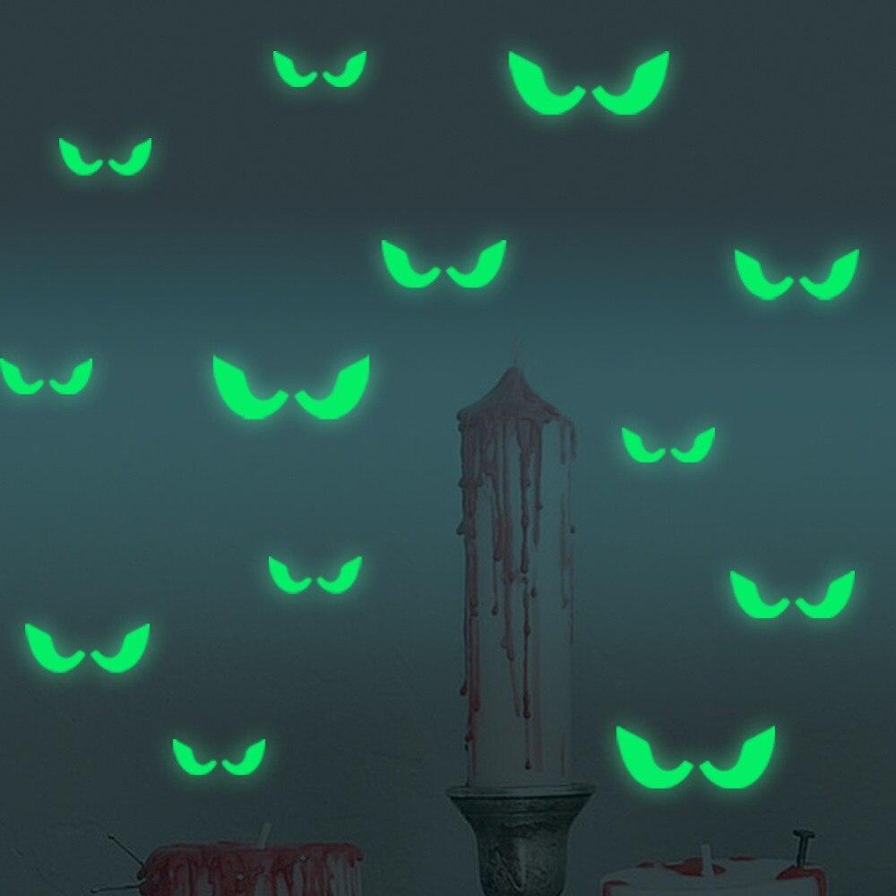 18 шт./компл. Светящиеся в темноте глаза настенные стеклянные наклейки на Хэллоуин декоративные наклейки светящиеся украшения для дома-зеле...