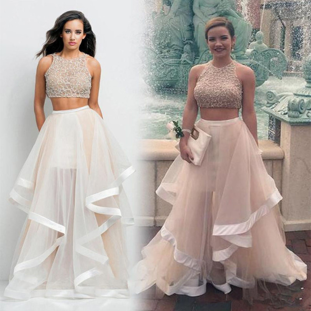 2e957db70c 2016 Beaded Crop Top Two Pieces Prom Dresses Formal Gowns Pageant Dress  Flounced Skirt Tulle Dress
