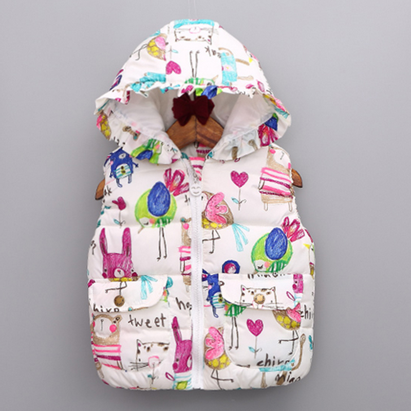Hot-selling children's 2016 autumn winter kids clothing doodle vest cartoon birds flowers drawing baby girls vest waistcoat