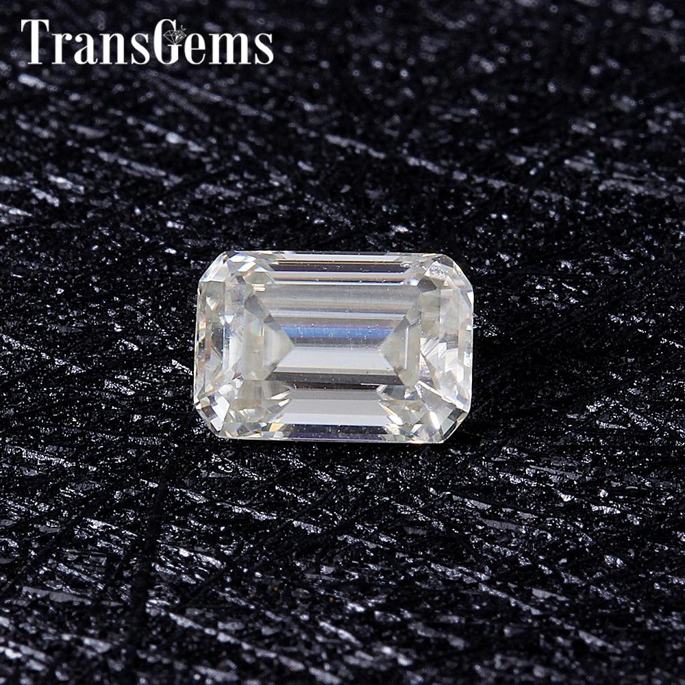 TransGems 1 Carat 5mm*7mm H Color Emerald cut Moissanite Diamond Loose Stone Test Positive as Real Diamond transgems 7 5mm 7 5mm 2carat deep blue color cushion cut moissanite bead test positive as real diamond 1 piece