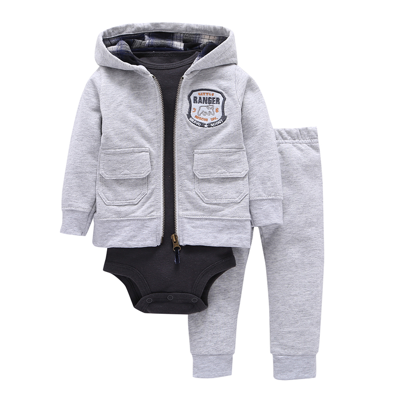 Baby Boys Cartoon 3 Pieces Sets Solid Gray Hooded Zipper Full Sleeve Open Stitch Coat+One-Piece Romper Climbing Clothes+Pants open front side pocket hooded coat