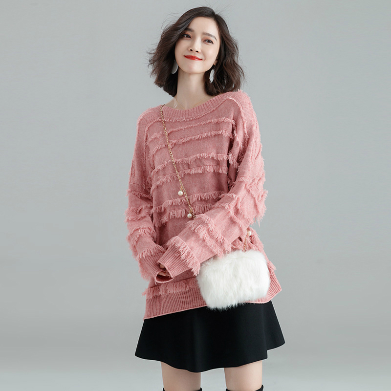 Winter Sweater Women 2018 Fashion Casual O neck Sweater Warm Vintage Loose Long Sleeve Knitted Pullover Sweaters with Tasse in Pullovers from Women 39 s Clothing