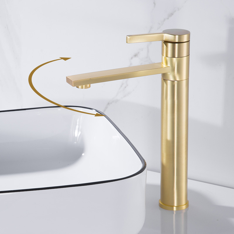 brass basin faucet cold and hot copper wire drawing gold brushed single hole table washbasin faucet outlet nozzle rotation
