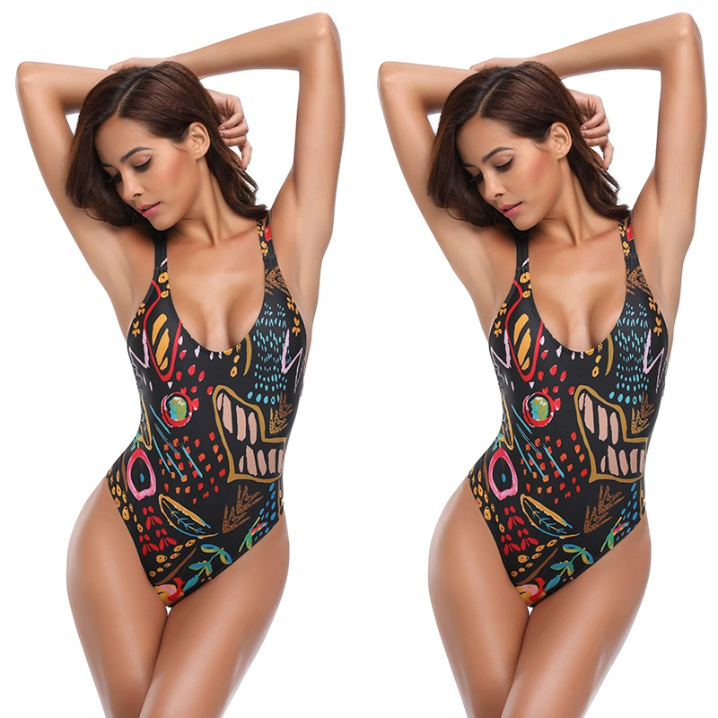 EFINNY Fashion Print Women\'s One-Piece Jumpsuits Cross Hollow Hanging Neck Back Tight Tight Sexy Female Suit For Swim Clothing