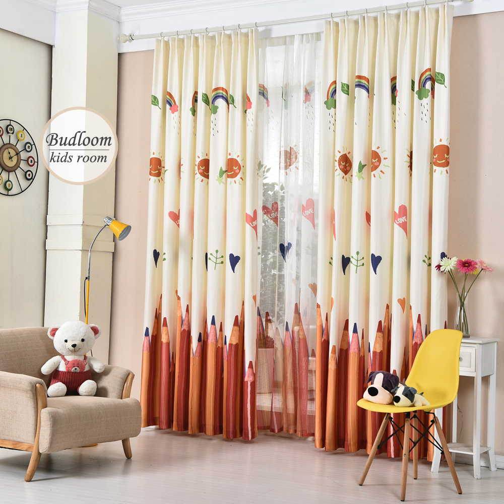 colorful pencil printed curtains for kids room faux linen 11165 | colorful pencil printed curtains for kids room faux linen curtains for bedroom baby room curtains window