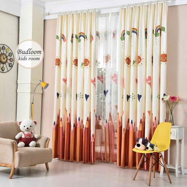 kleurrijke potlood gedrukt gordijnen voor kinderkamer faux linnen gordijnen voor slaapkamer babykamer gordijnen raam gordijnen