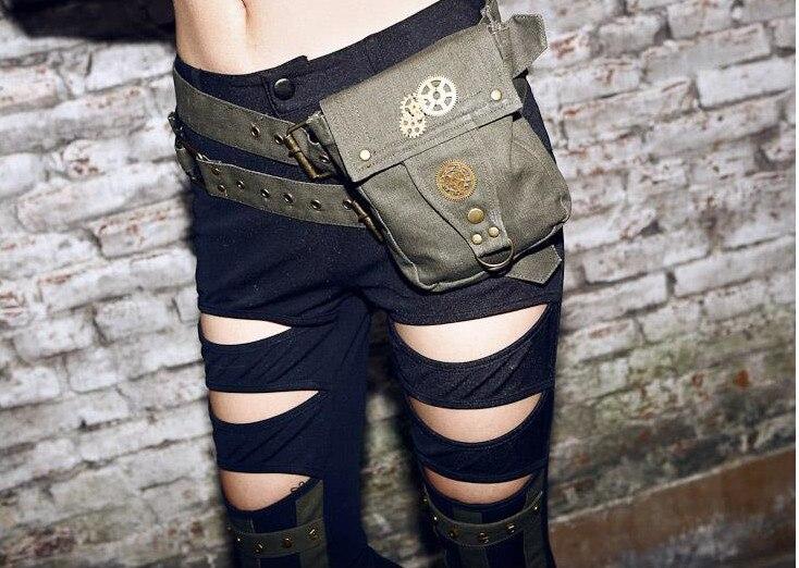 ФОТО Personality Khaki/Green Denim Steampunk Waist Packs Cool Female Steam Punk Belt Waist Bag