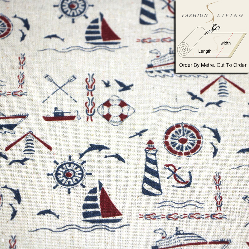 150cm Wide Vintage Print Cotton Linen Fabric Nautical Pattern Inspired with Boats on Waves Linen Base Cloth DIY Sewing Fabric