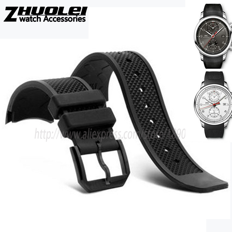 все цены на 22mm black rubber watchband for IW390211 IW390209 watches band waterproof men's straps silicone bracelet онлайн