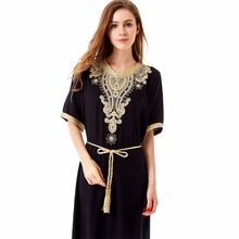 Long sleeve long Dress maxi muslim dress abaya islamic women clothing vintage dress robe kaftan Moroccan embroidey tunic 1605