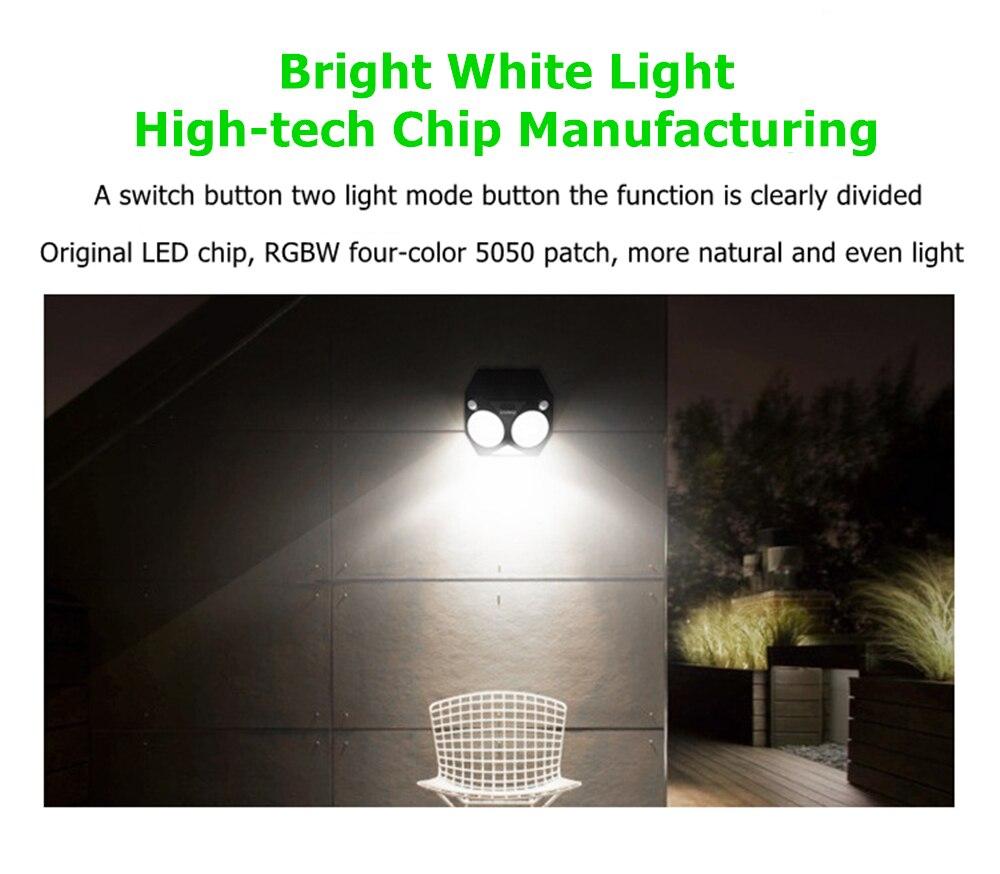 rgbw led dupla luz de segurança pir