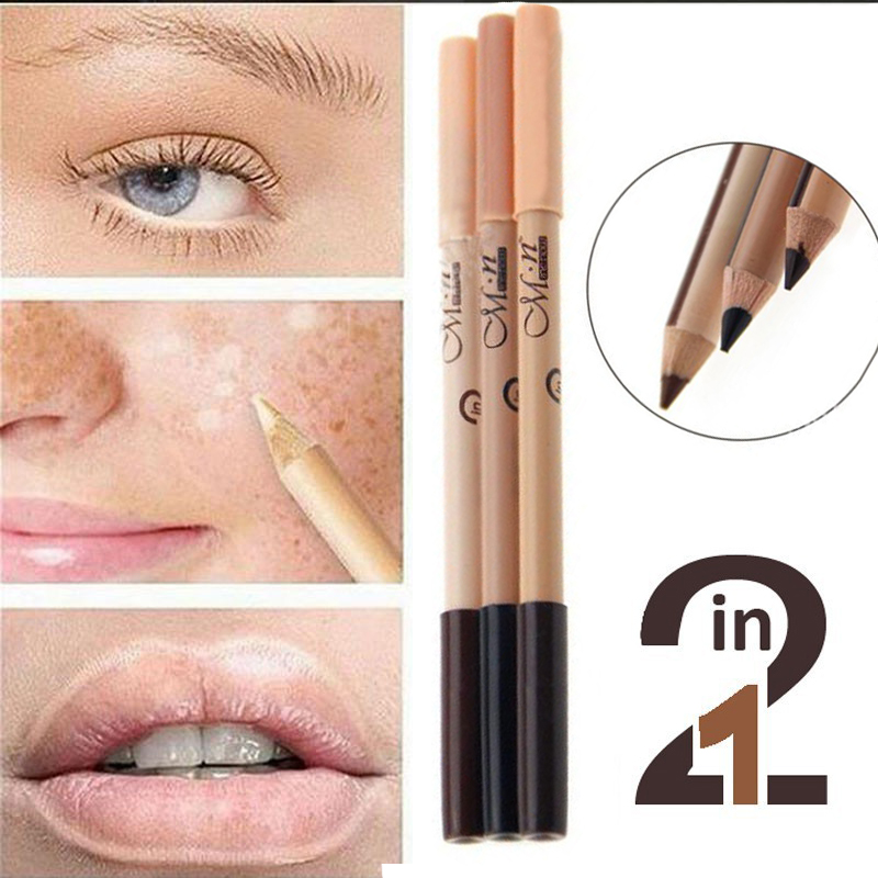 1PC New Professional 2 in 1 Double end Make Up Waterproof Eyebrow Pen Foundation Base Contour Makeup Face Concealer Pencil in Eyebrow Enhancers from Beauty Health