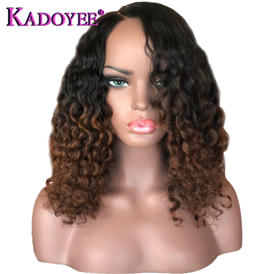 Curly Wig Short Bob Lace Front Wig 13x4 Brazilian Human Hair Wig Ombre 1B 30 Color Pre Plucked Bleached Knots For Women KADOYEE