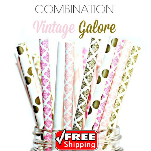 Vintage Galore 150pcs mixed 6 designs vintage galore themed paper straws pink white