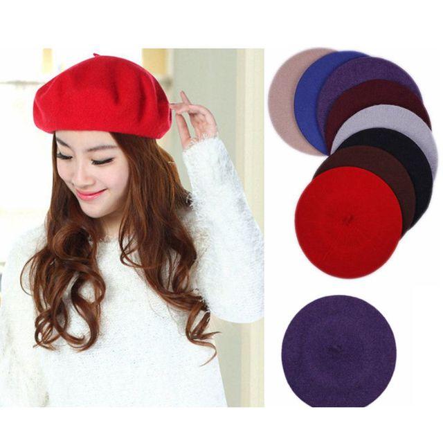 Wholesale 20Pcs lot New Pretty Girls  Wool Berets Warm Women Felt French  Beret Beanie Hat Cap Ladies Hats Soft Wool Warm French 9d9c3cb9930