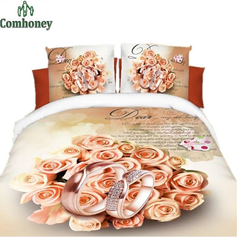 Bedroom Set Home Textile 4pcs Romantic Print Crib 3d Bedding Sets Bedclothes Bed Setting Polyester Sheets