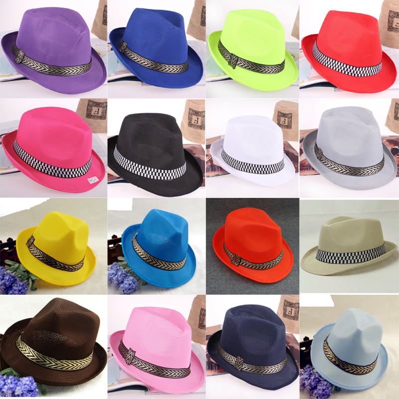 16 Colors Summer fast dry jazz Fedora Hats Outdoor Beach Sunhat Breathable <font><b>Gangster</b></font> Cap stage Performance hat for men women image