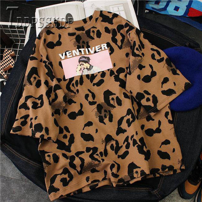 95% Cotton Korean Leopard Printing Women T Shirt 2019 Summer Bf Style Female Tee Shirts