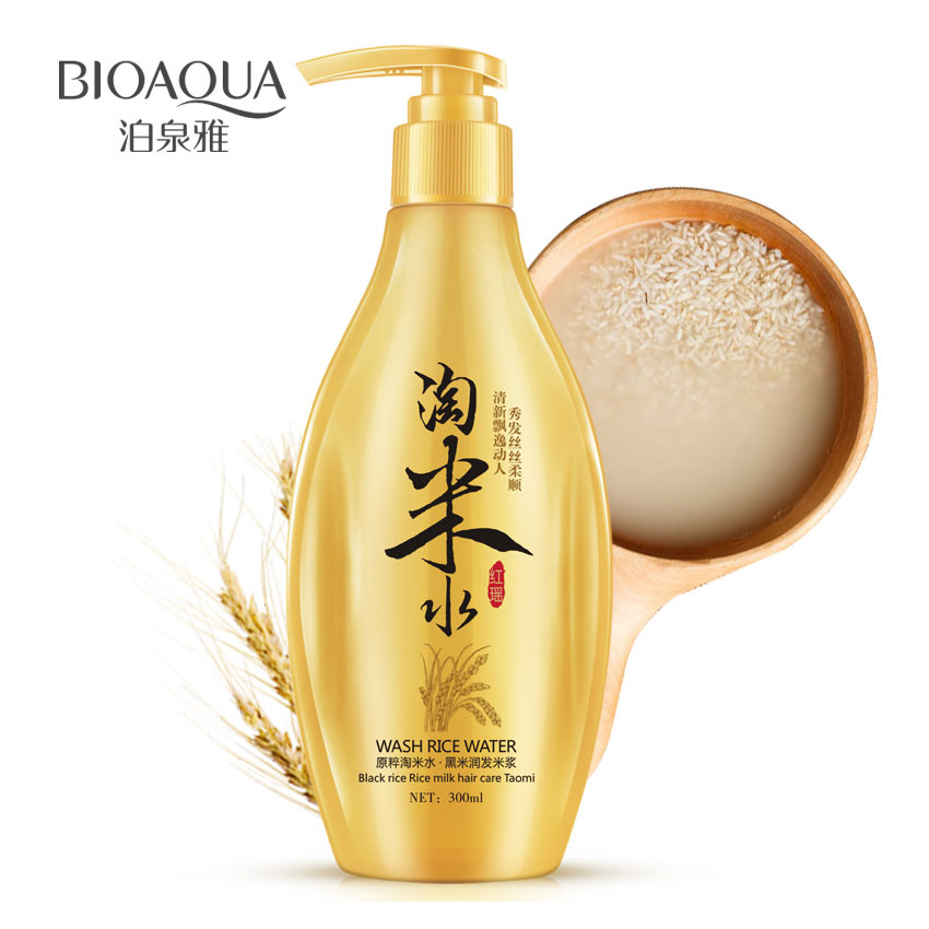 BIOAQUA China Tradition Wash Rice Water Shampoo Black Rice Milk Hair Care Oil-control Itching Conditioning Treatment 300ml invisible bra