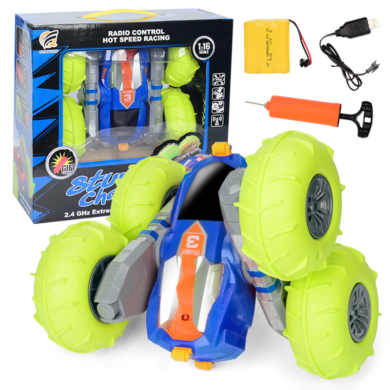 цена Newest Outside Kids Boy Gift Toy Double Side Stunt Rotate RC Car 1:16 360 Degree Rotate Skip Pneumatic Tyre With Pump LED Light