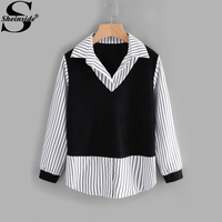 Sheinside Contrast 2 In 1 Striped Patchwork Blouse Women Fashion Turn Down Collar Long Sleeve Tunic