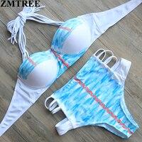 ZMTREE 2017 New High Waist Halter Swimwear Push Up Bandage Bikinis Set Swimsuit Brazilian Beach Wear
