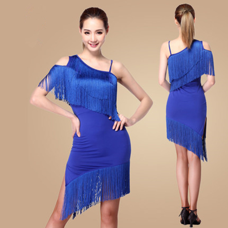 New Latin Dance Dress Tassel Elegant Sexy Women Tango Ballroom Salsa Dance Costumes
