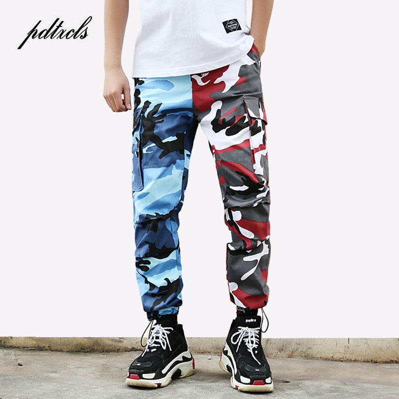 49 HOT 2018 Tri Color Camo Patchwork Cargo Pants Men's Hip Hop Casual Camouflage Trousers Fashion Streetwear Joggers Sweatpants