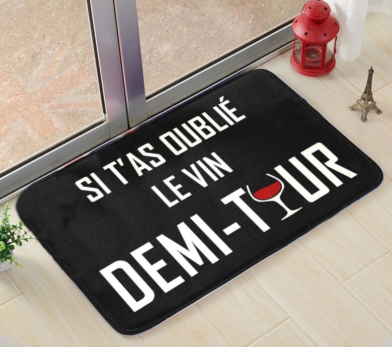 Моден черен килим за всекидневна спалня мат Si T'as Oublie Le Vin Rectangle бар килими Coral Velvet