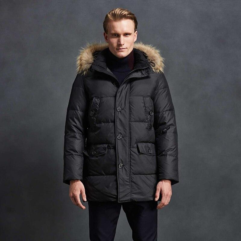 2018 Men Down Jacket 90% White Duck Down Winter Warm Coat With Raccoon Fur Collar Fashion Jacket Mid-Long Parka Free Shipping