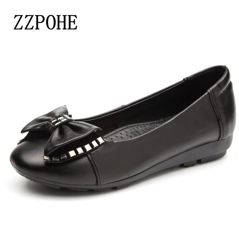 ZZPOHE spring new leather shallow mouth woman shoes soft bottom fashion mother work shoes leisure comfortable black flat shoes aiyuqi 2018 new genuine leather women s shoes shallow mouth soft nurse shoes comfortable work spring shoes women
