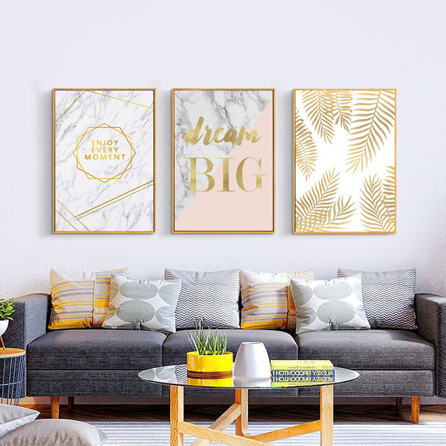 Three canvas prints - Gold/Marble