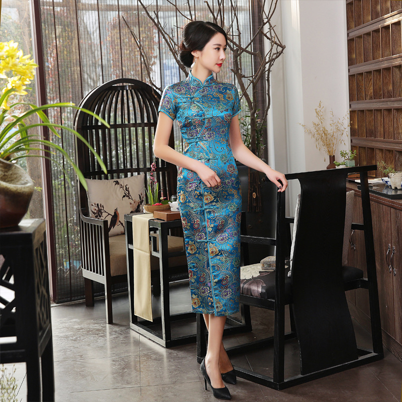 Hot Sale Elegant Lake Blue Satin Cheongsam Chinese Classic Tight Qipao Short Sleeve Novelty Print Sexy