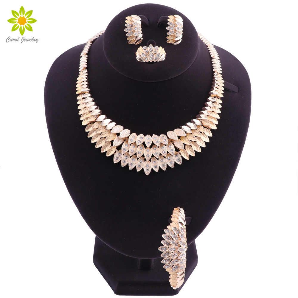 Африка Дубай Свадебные комплекты украшений для женщин свадебный Кристалл золотого цвета ожерелье серьги браслет набор Модный Ювелирный