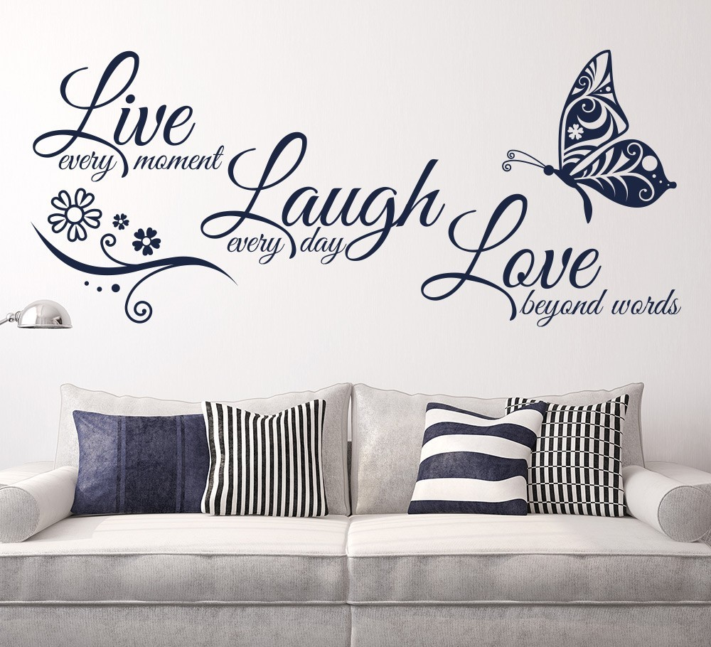 Live Laugh Love Butterfly Flower Wall Art Sticker Modern Wall Decals Quotes Vinyls Stickers Wall Stickers Home Decor Living Room 2