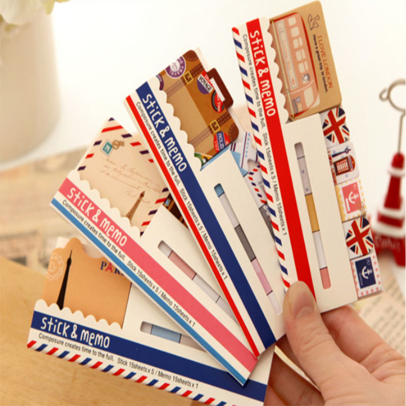 Korea Stick&Memo Kawaii Multi Designs Mixed Sizes Cartoon Notes London N Times Stickers Office School Home Stationery Notepad
