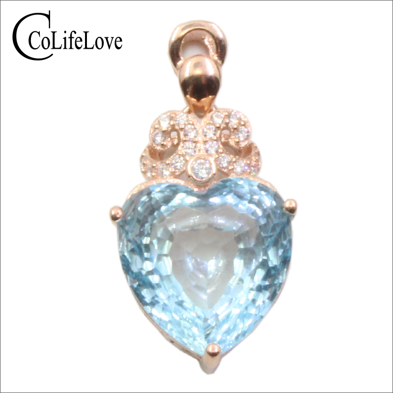 CoLife Jewelry topaz silver pendant for woman 12mm VVS grade natural heart cut topaz solid 925 silver topaz necklace pendant