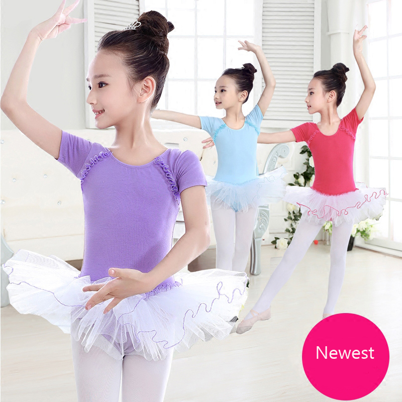 Short Sleeves Summer Dance Costumes For Kids Bodysuit Gymnastics Leotard Ballet Dress For Girls Ballerina Kids Dancewear Clothes