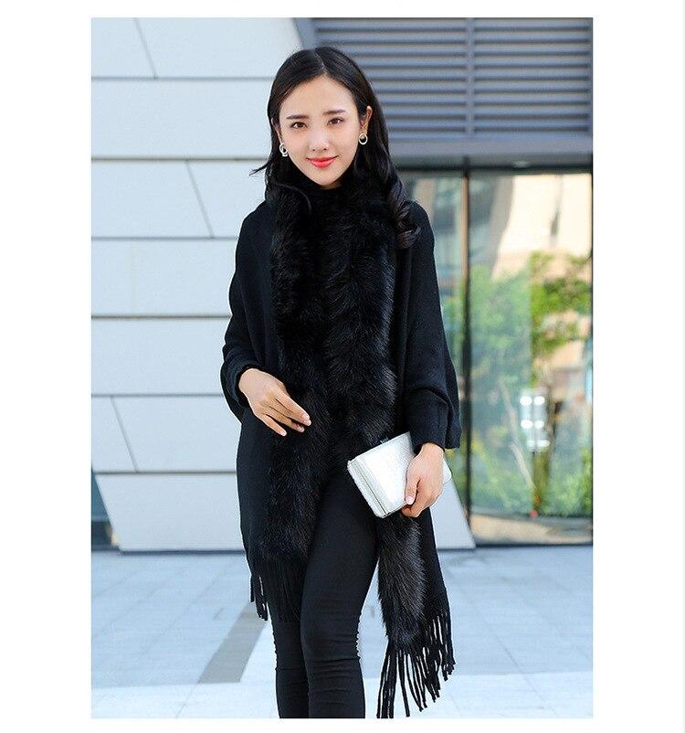 Faux Fur Collar Shawl Cardigan Tassel Winter Warm Coat 24