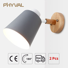 Wall Lamp 10cm Wooden Base 13cm Iron lampshade Nordic Chrome Up and down adjustment steering head E27 lamp holder free shipping(China)