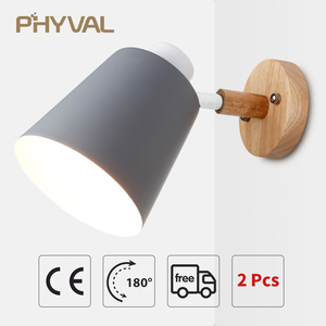 Image 1 - Wall Lamp 10cm Wooden Base 13cm Iron lampshade Nordic Chrome Up and down adjustment steering head E27 lamp holder free shipping