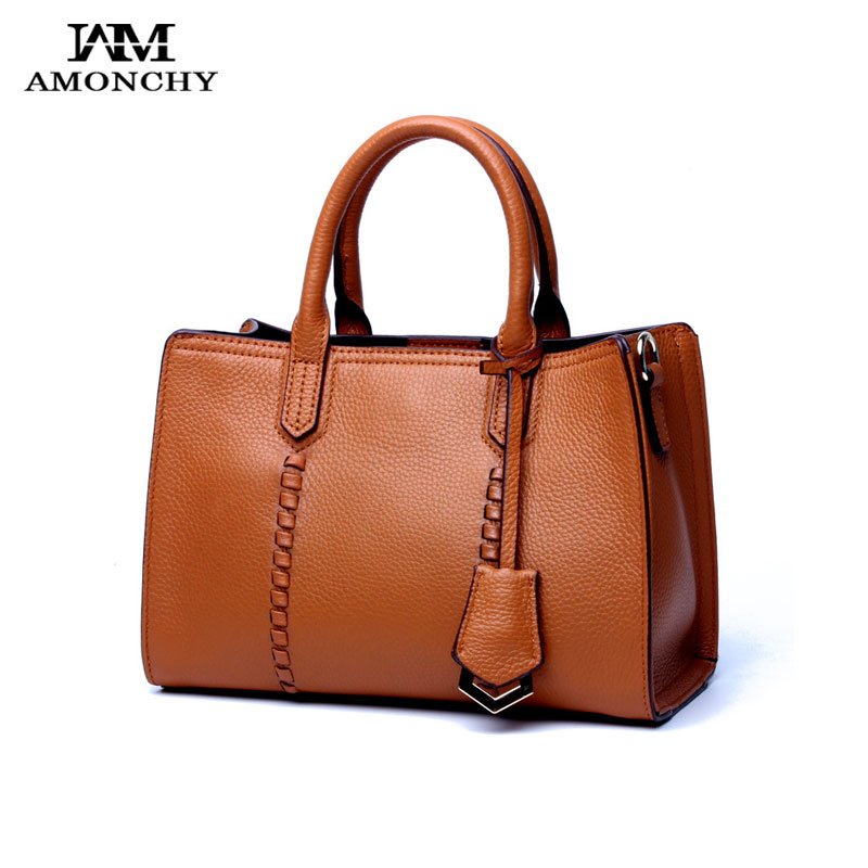 AMONCHY New Women Handbags First Layer Cow Leather Tote Bag Ladies Genuine Leather Shoulder Messenger Bags Autumn 2018 Daily Bag women shoulder bag cossbody handbag genuine first layer of cow leather 2017 korean diamond lattice chain women messenger bag
